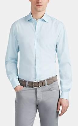 Luciano Barbera Men's Striped Cotton Poplin Shirt - Blue Pat.