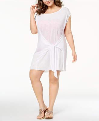 Becca Etc Plus Size Breezy Basics Tie-Front Dress Cover-Up Women's Swimsuit