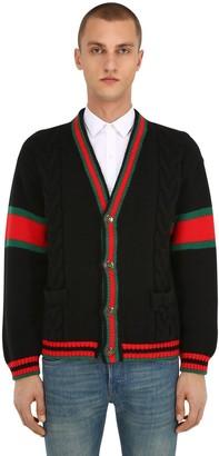 Gucci Wool Knit Cardigan W/ Web Piping