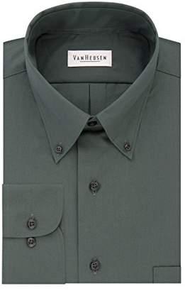 Van Heusen Mens Dress Shirts Regular Fit Silky Poplin Solid Button Down Collar