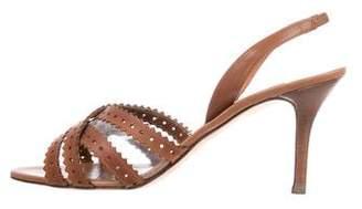 Oscar de la Renta Slingback PVC-Trimmed Sandals