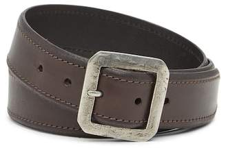 John Varvatos Collection Leather Square Buckle Belt