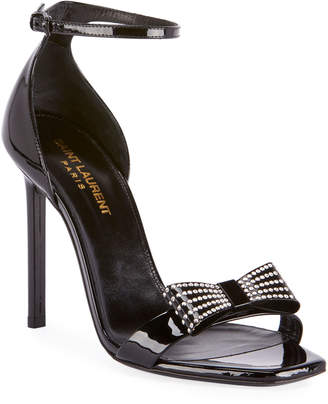 Saint Laurent Zoe Rhinestone Bow Patent Leather Sandals