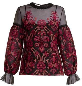Oscar de la Renta Cross Stitch Embroidered Silk Organza Top - Womens - Black Multi