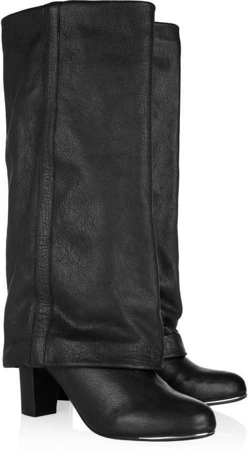 See by Chloe Slouchy textured-leather boots