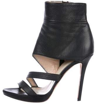 Herve Leger Leather Ankle Cuff Sandals Black Leather Ankle Cuff Sandals