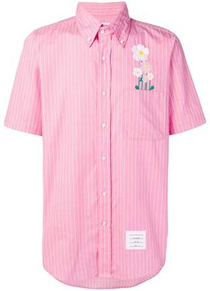 Thom Browne Embroidered Daisy Pinstripe Shirt