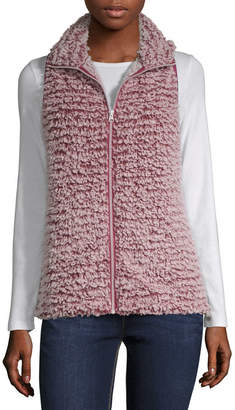 Say What Plush Zip Up Vest - Juniors