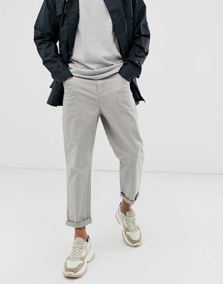 Asos tapered cropped pant in putty heavyweight fabric