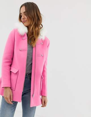 Naf Naf colourful coat with faux fur hood in pink