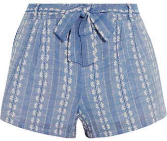 Splendid - Cotton-jacquard Shorts - Blue $140 thestylecure.com