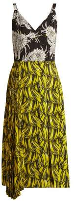 Prada Banana And Dahlia Print Sleeveless Dress - Womens - Yellow Print