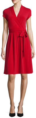 LIZ CLAIBORNE Liz Claiborne Cap-Sleeve Wrap Dress $60 thestylecure.com