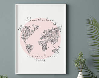 Nifty Print Designs Save The Bees And Plant More Trees Wall Art