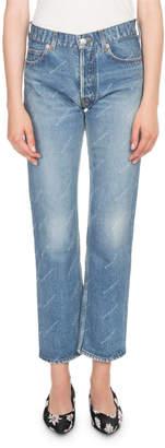 Balenciaga Logo-Print Cropped Denim Jeans