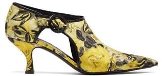 Erdem - Marguerite Floral Jacquard Pumps - Womens - Black Yellow