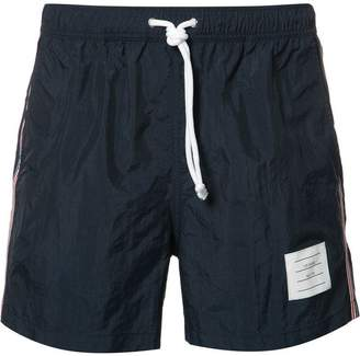 Thom Browne Classic Swim Trunk With Red, White And Blue Grosgrain Side Seam In Navy Brushed Finish Swim Tech