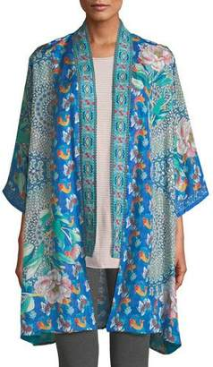 Johnny Was Plus Size Coi Mixed-Print Silk Kimono Jacket