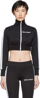 Palm Angels Black and White Cropped Track Jacket
