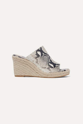 Stuart Weitzman Marabella Snake-effect Leather Espadrille Wedge Sandals - Snake print