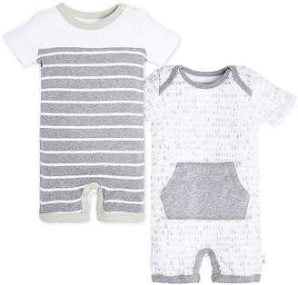 Burt's Bees Baby 2 Pack Dew Drop Striped Organic Cotton Rompers