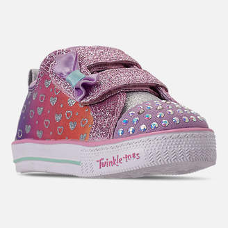 242e29bef032 Skechers Girls  Toddler Twinkle Toes  Shuffle Lite - Sparkly Hearts Light  Up Hook-