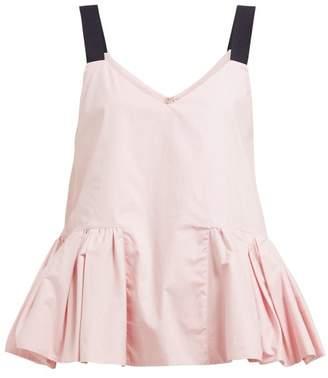 Roksanda Pepla Peplum Hem Poplin Top - Womens - Light Pink