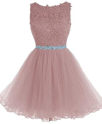 Cdress Tulle Homecoming Dresses Short Cocktail Prom Gowns Evening Party Dress Appliques Beads