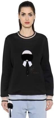 Fendi Karl Fur & Sequins Jersey Sweatshirt