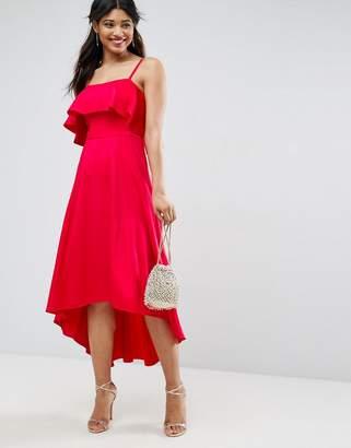Asos DESIGN Crop Ruffle Soft Midi Prom Dress