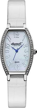 Ingersoll Quartz Women's Quartz Watch with White Dial Analogue Display and Brown Leather Strap INQ024WHWH