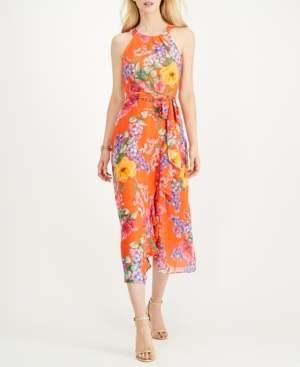 Jessica Howard Petite Floral Chiffon Halter Midi Dress