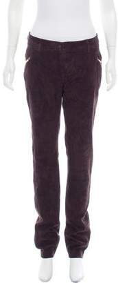 Loro Piana Suede Mid-Rise Pants
