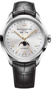 Baume & Mercier Baume& Mercier Baume& Mercier Men's Clifton 10055 Moonphase Stainless Steel& Alligator Strap Watch - Silver Black