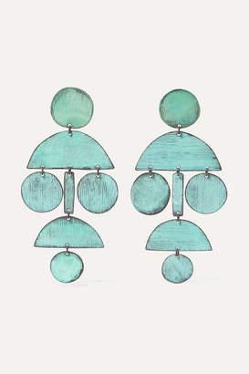 Annie Costello Brown - Pom Pom Oxidized Earrings - Green