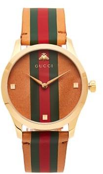 Gucci G Timeless Web Stripe Watch - Womens - Tan