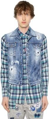 DSQUARED2 Distressed Cotton Denim Vest
