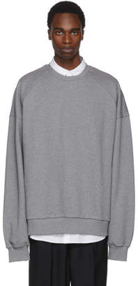 Juun.J Grey Embroidered Deconstruct Back Sweatshirt