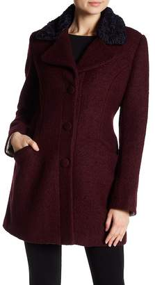 Laundry by Shelli Segal Fit & Flare Faux Shearling Trimmed Wool Blend Coat
