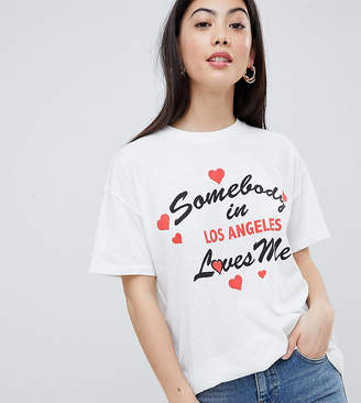 Asos DESIGN Petite relaxed t-shirt with somebody loves me print