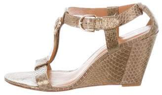 AERIN Embossed T-Strap Wedges