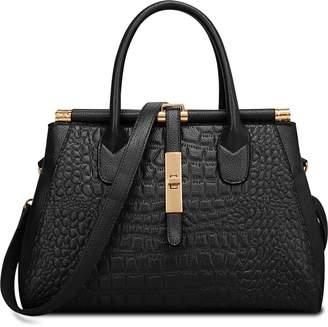 Crocodile Embossed Handbag,ZZSY Women Leather Shoulder Bag Fahion Vintage Ladies Top handle Satchel Tote