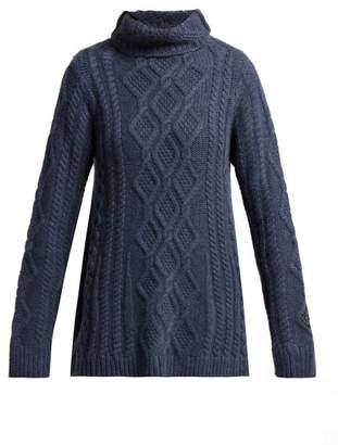 Queene and Belle Hester Funnel Neck Cashmere Sweater - Womens - Navy
