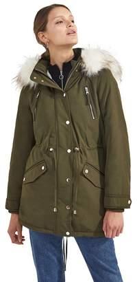 Miss Selfridge Khaki Faux Fur Lined Luxe Parka