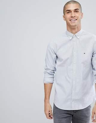 Tommy Hilfiger Ithaca Stripe Slim Fit Flag Logo Shirt In Blue