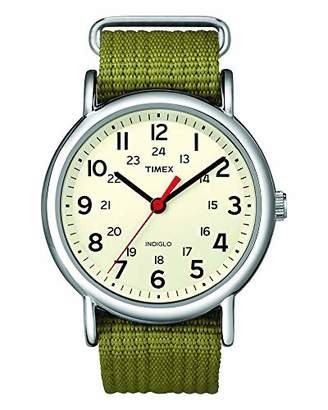Timex Special Weekender Slip Through Unisex Quartz Watch with Beige Dial Analogue Display and Brown Nylon Strap T2N651