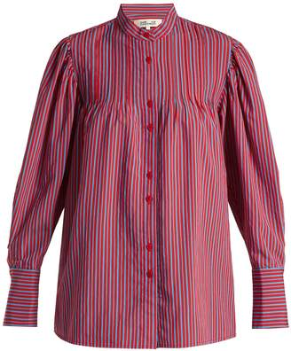 Diane von Furstenberg Pleated Mandarin-collar shirt
