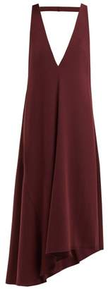 Tibi Asymmetric V Neck Midi Dress - Womens - Burgundy
