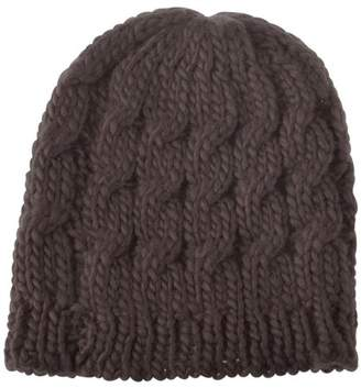 Zodaca Women Beanie Hat Winter Warm Crochet Ball Girl Woman Thick Lined Cable Knitted Cap Hat Soft Knit Headwear - Brown