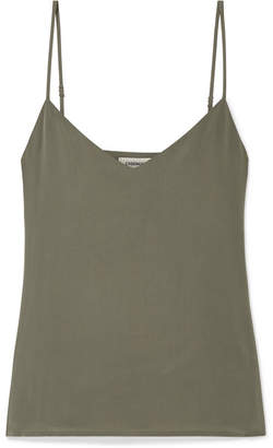L'Agence Jane Washed-silk Camisole - Army green